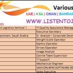 Huge Job Vacancies in AGILITY @Dubai,UAE,Oman,Saudi Arabia ,Kuwait