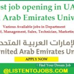 Huge Job Vacancies in United Arab Emirates University@UAE