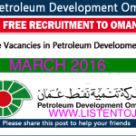 Huge Latest Job Vacancies in Petroleum Development Oman (PDO)@Oman