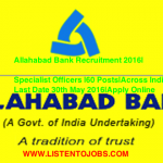 Allahabad Bank Recruitment 2016|Specialist Officers |60 Posts|Across India|Last Date 30th May 2016|Apply Online