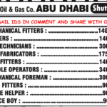 Urgent Requirement For Large Oil and Gas Shutdown Project @Abu Dhabi |Interview on 27th August 2016