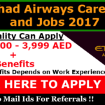 Latest Job Vacancies in Etihad Airways 2018 | Any Graduate/ Any Degree / Diploma / ITI |Btech | MBA | +2 | Post Graduates | Abu Dhabi,UAE