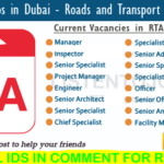 Latest Job Vacancies in Roads and Transport Authority 2020 | Any Graduate/ Any Degree / Diploma / ITI |Btech | MBA | +2 | Post Graduates  | Dubai ,UAE