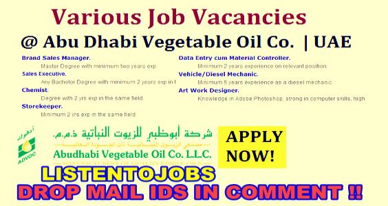 Job Openings in Abu Dhabi Vegetable Oil Company 2017