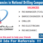 Latest Oil and Gas Vacancies in National Drilling Company | Any Graduate/ Any Degree / Diploma / ITI |Btech | MBA | +2 | Post Graduates | UAE