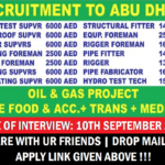 Latest OIL and Gas Job Recruitment in Abu Dhabi September 2017 | Any Graduate/ Any Degree / Diploma / ITI |Btech | MBA | +2 | Post Graduates | Abu Dhabi,UAE