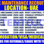 Large MAINTENANCE Project Recruitment | Any Graduate/ Any Degree / Diploma / ITI |Btech | MBA | +2 | Post Graduates | UAE | Apply Online
